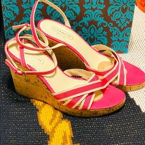 Coach beautiful pink and white Wedge sandals